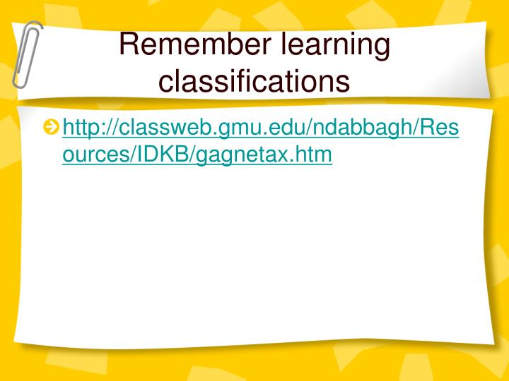 Remember learning classifications