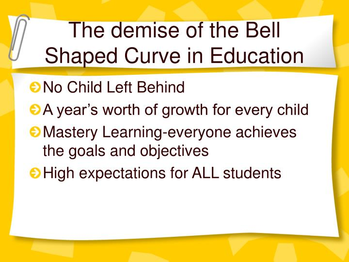 The demise of the Bell Shaped Curve in Education