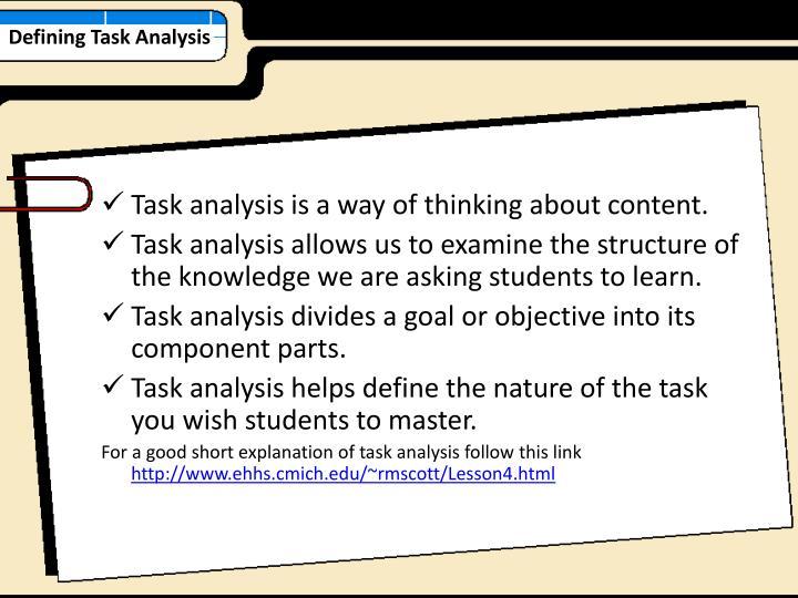 Defining Task Analysis