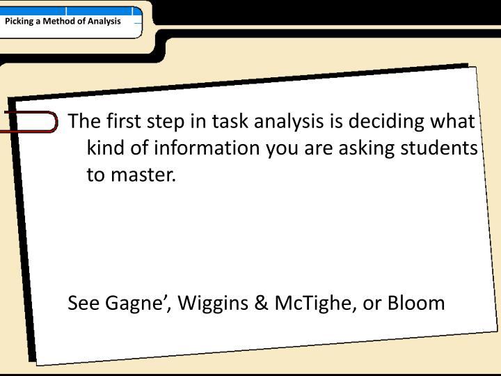 Picking a Method of Analysis
