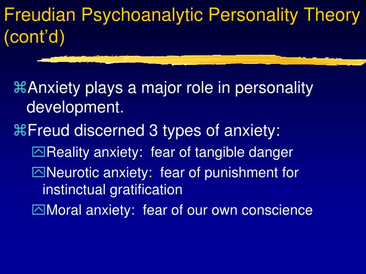 Freudian Psychoanalytic Personality Theory (cont'd)