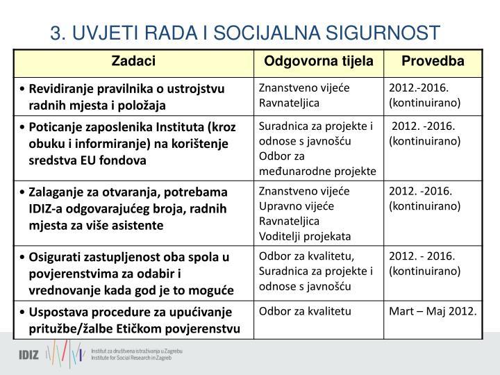 3. UVJETI RADA I SOCIJALNA SIGURNOST