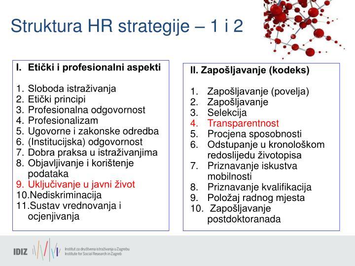 Struktura HR strategije – 1 i 2