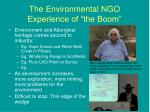 the environmental ngo experience of the boom