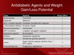antidiabetic agents and weight gain loss potential