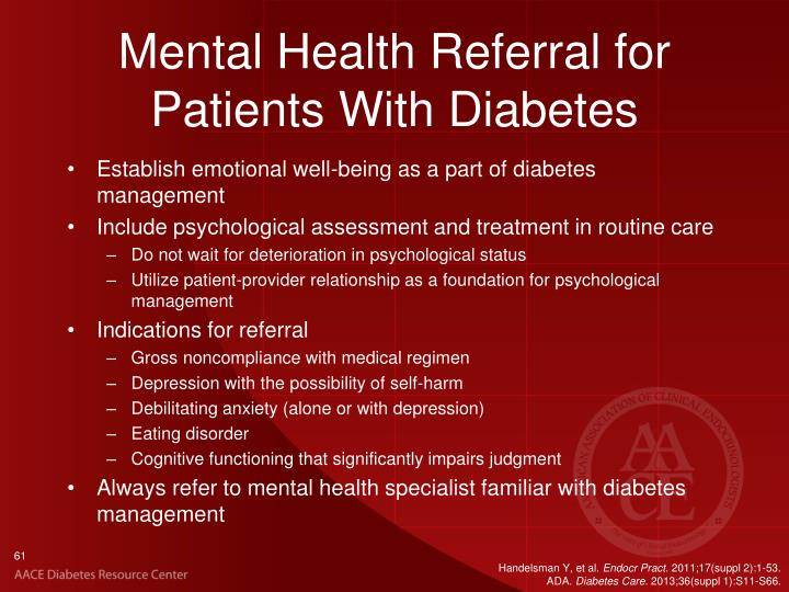 Mental Health Referral for Patients With Diabetes