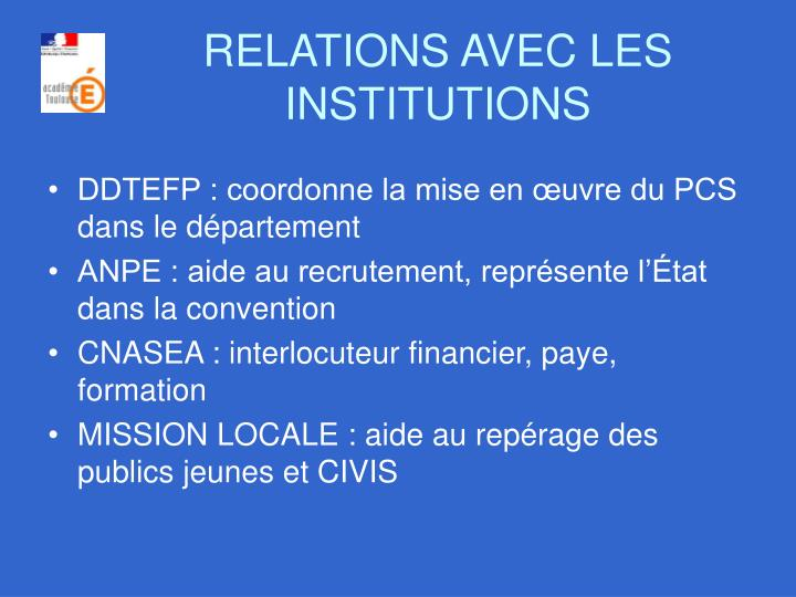 RELATIONS AVEC LES INSTITUTIONS