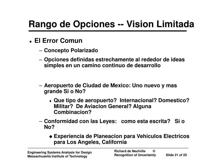 Rango de Opciones -- Vision Limitada