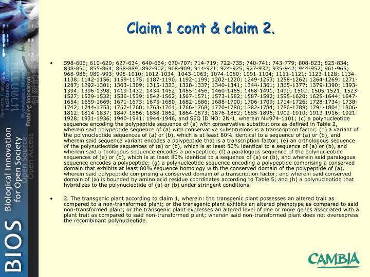 Claim 1 cont & claim 2.