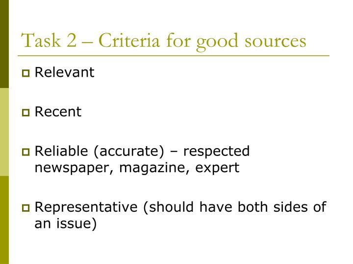 Task 2 – Criteria for good sources