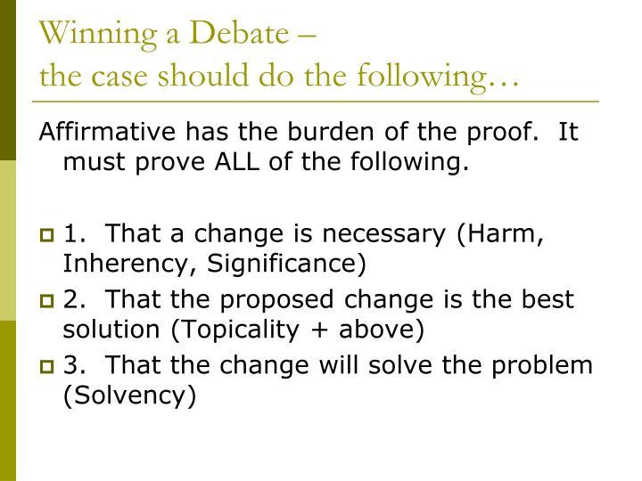 Winning a Debate –