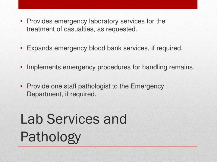 Provides emergency laboratory services for the treatment of casualties, as requested.