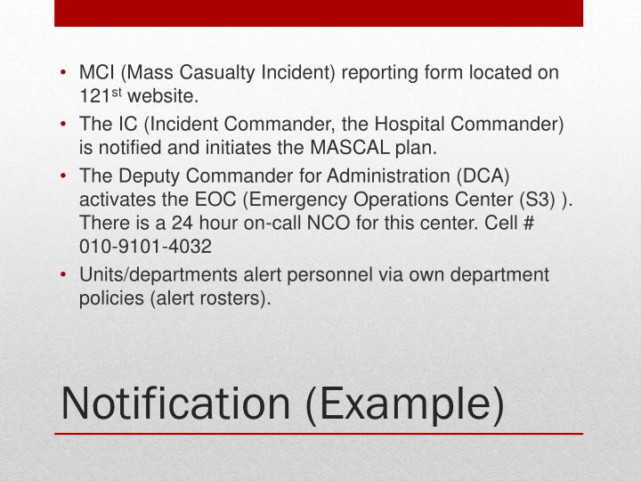 MCI (Mass Casualty Incident) reporting form located on 121