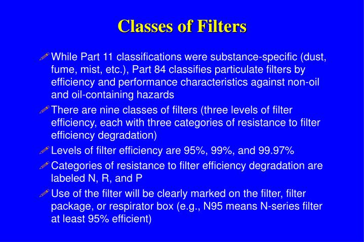 Classes of Filters
