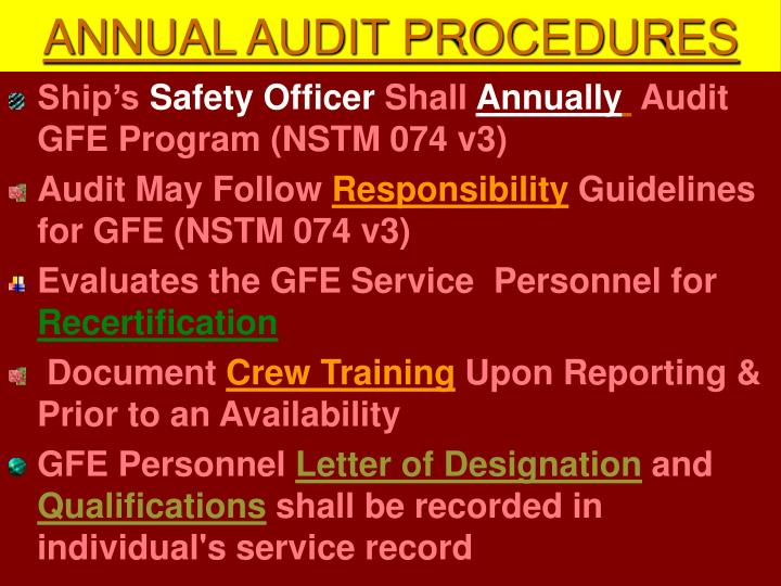 ANNUAL AUDIT PROCEDURES