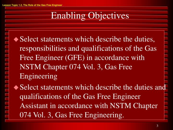 Lesson Topic 1.2, The Role of the Gas Free Engineer
