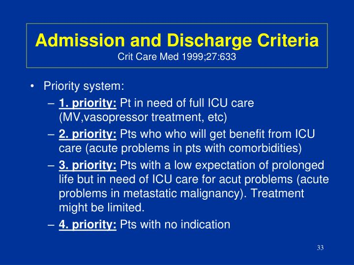 Admission and Discharge Criteria