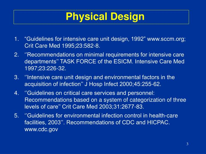"""Guidelines for intensive care unit design, 1992"" www.sccm.org; Crit Care Med 1995;23:582-8."
