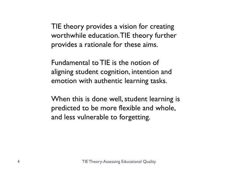 TIE theory provides a vision for creating worthwhile education. TIE theory further provides a rationale for these aims.