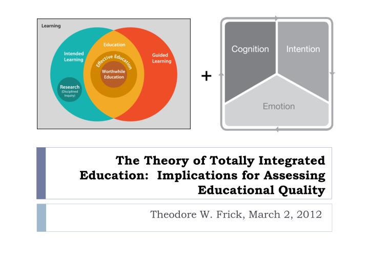 The theory of totally integrated education implications for assessing educational quality