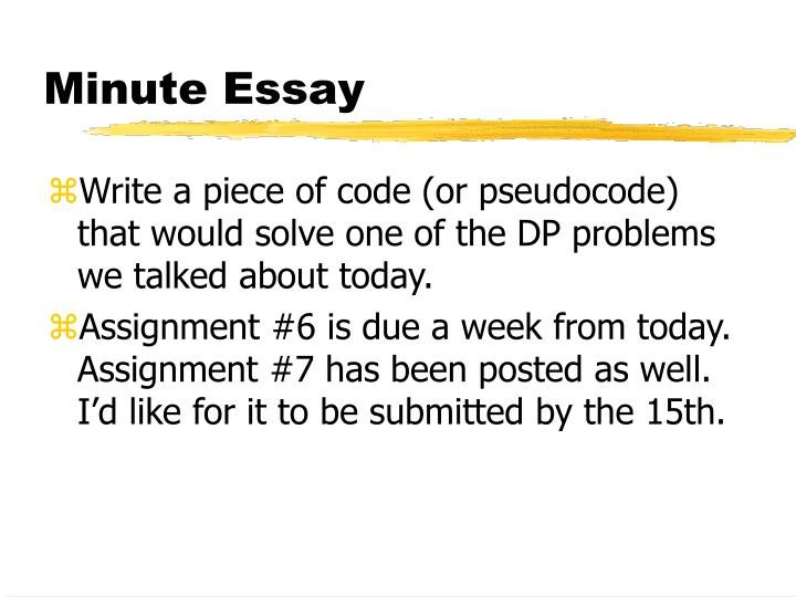 Minute Essay