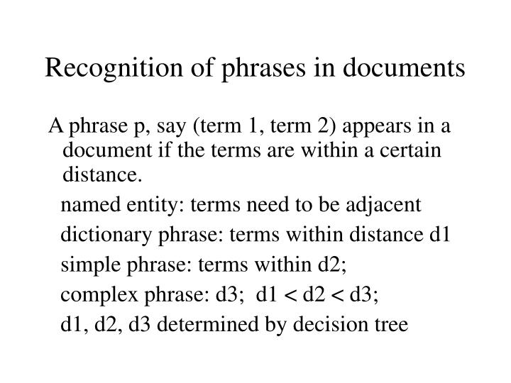Recognition of phrases in documents