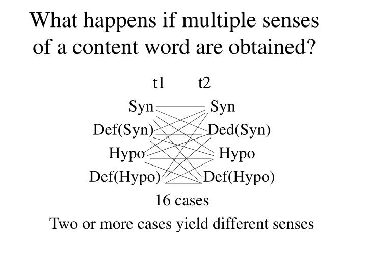 What happens if multiple senses of a content word are obtained?