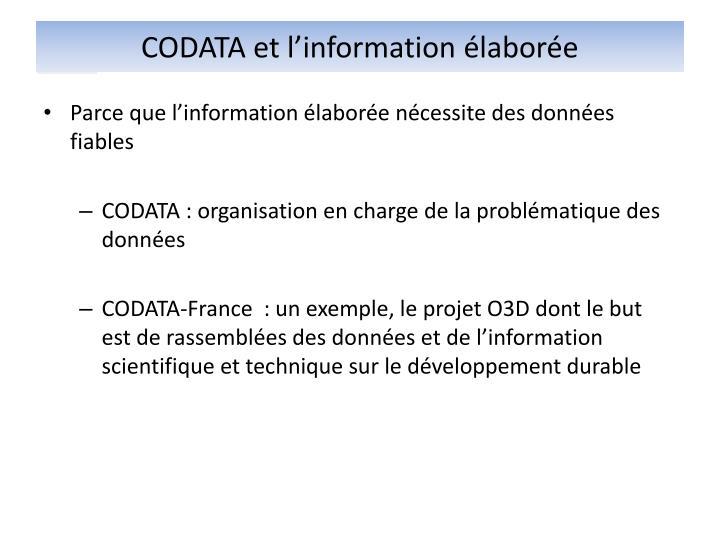 CODATA et l'information élaborée