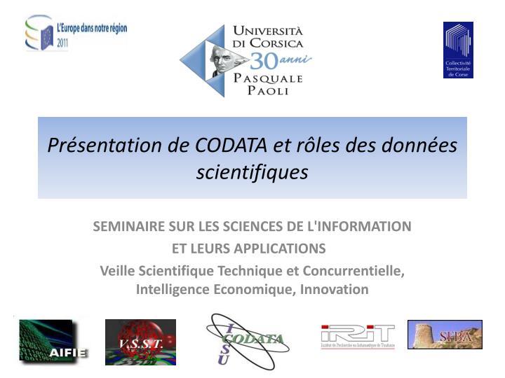 Présentation de CODATA et rôles des données scientifiques