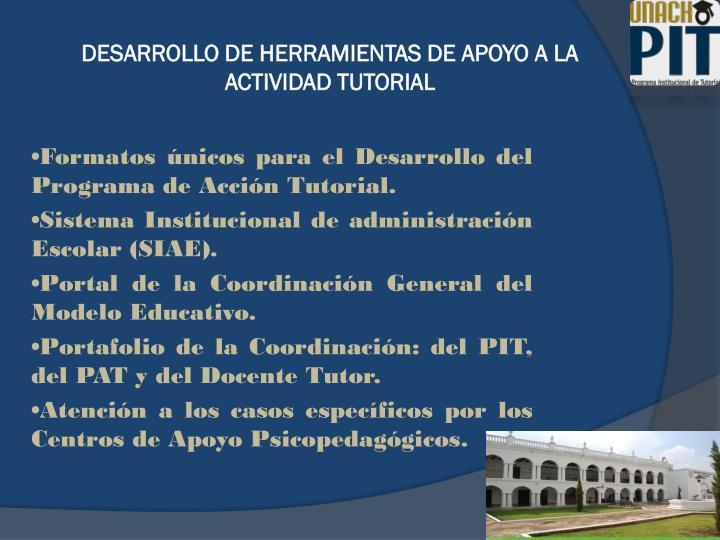 DESARROLLO DE HERRAMIENTAS DE APOYO A LA ACTIVIDAD TUTORIAL