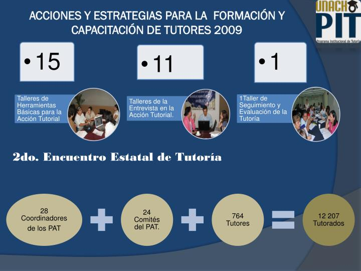 ACCIONES Y ESTRATEGIAS PARA LA  FORMACIÓN Y CAPACITACIÓN DE TUTORES 2009