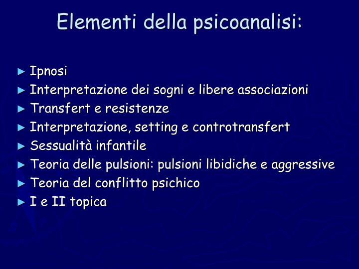 Elementi della psicoanalisi: