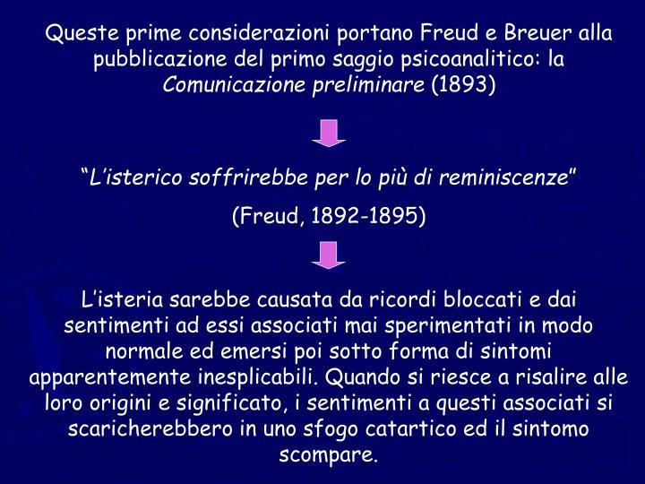 Queste prime considerazioni portano Freud e Breuer alla pubblicazione del primo saggio psicoanalitico: la