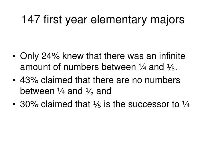 147 first year elementary majors