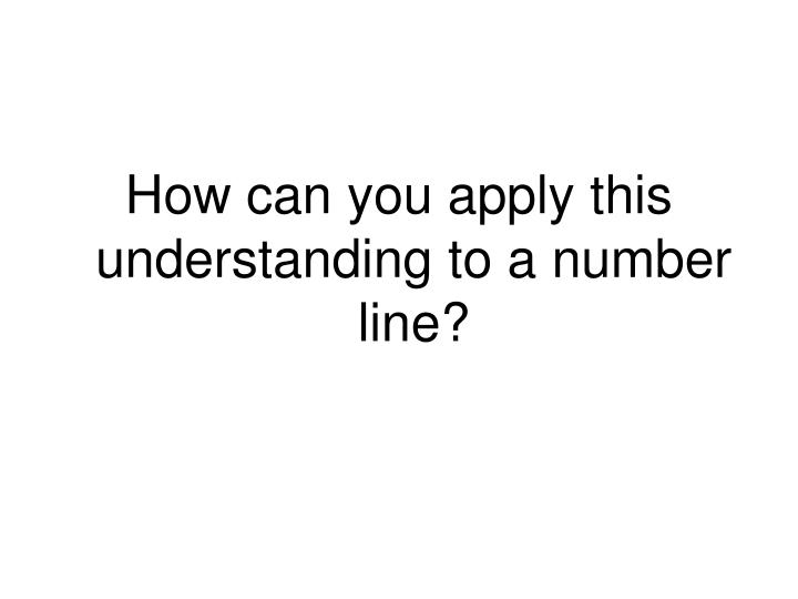 How can you apply this understanding to a number line?