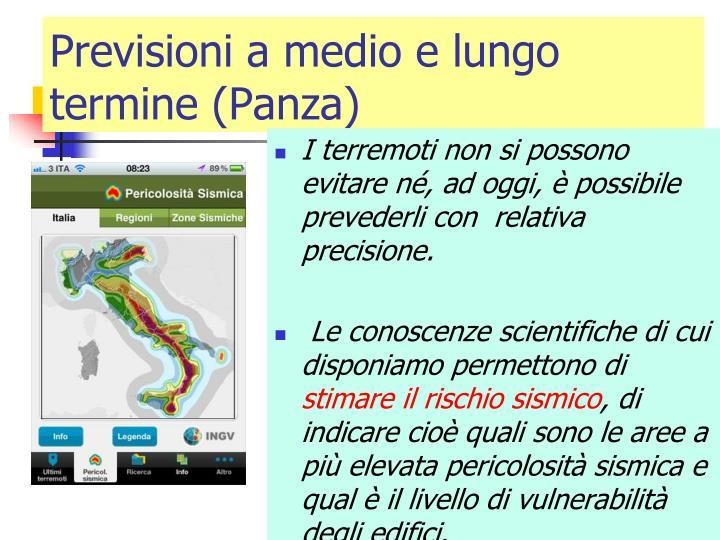Previsioni a medio e lungo termine (Panza)