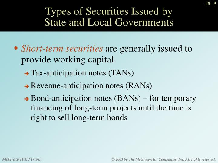 Types of Securities Issued by