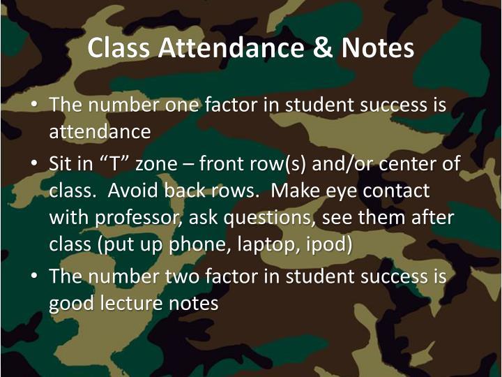 Class Attendance & Notes