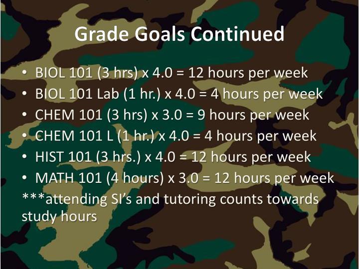 Grade Goals Continued