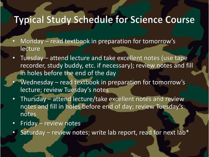 Typical Study Schedule for Science Course