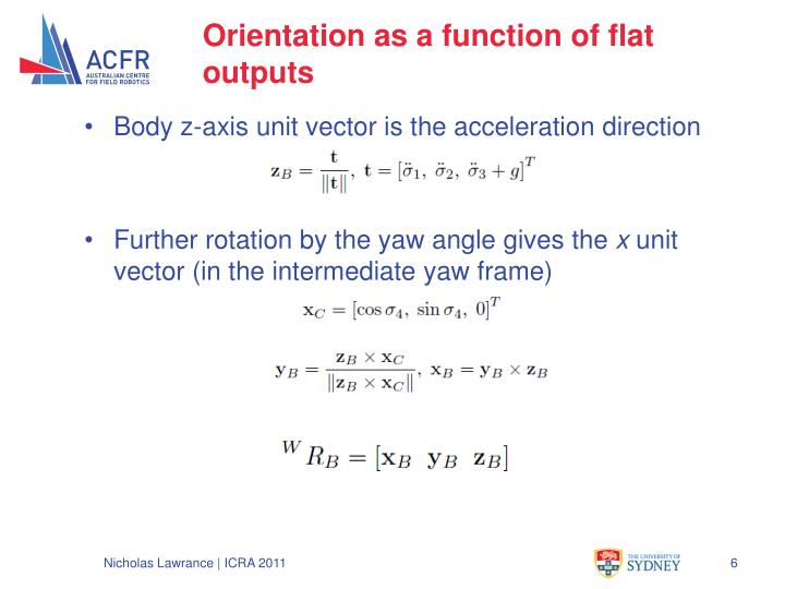 Orientation as a function of flat outputs