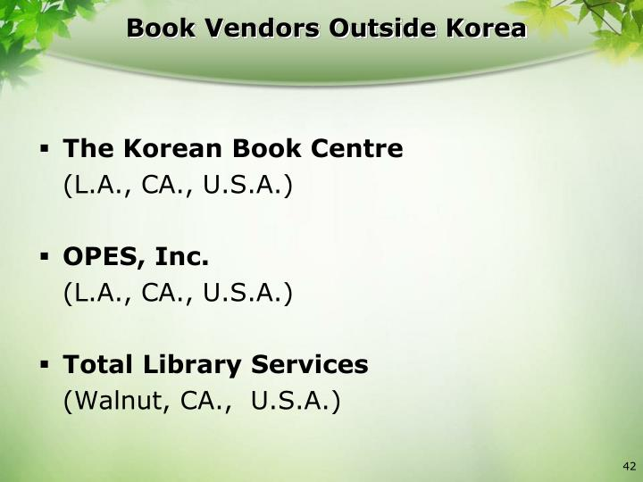 Book Vendors Outside Korea