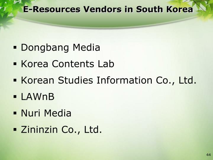 E-Resources Vendors in South Korea