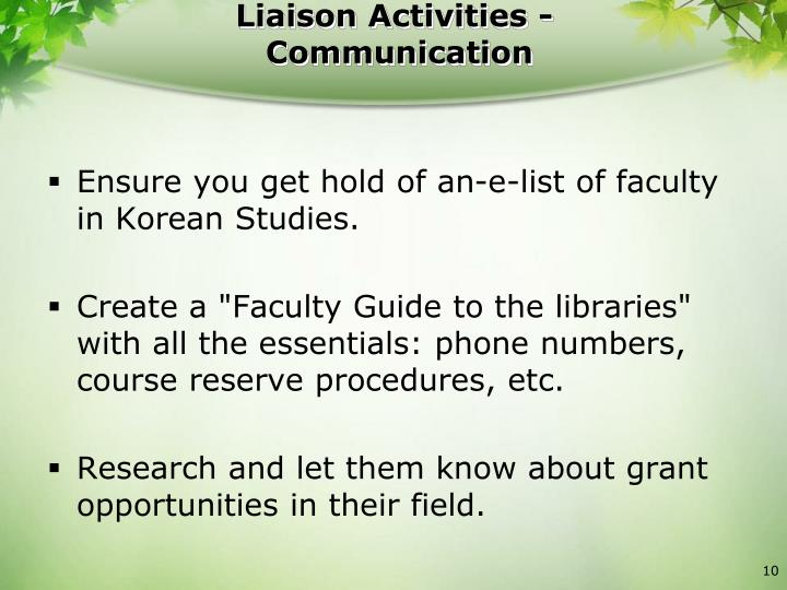 Liaison Activities -