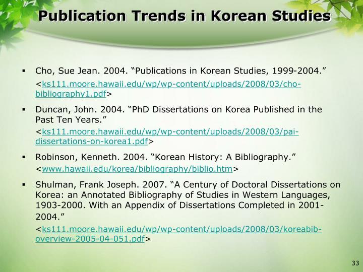 Publication Trends in Korean Studies