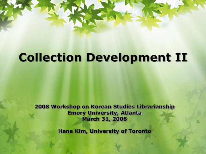 2008 Workshop on Korean Studies Librarianship