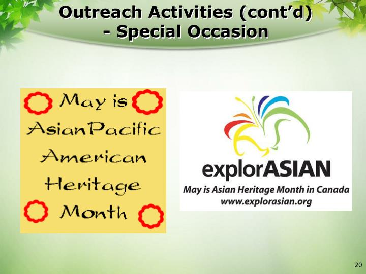 Outreach Activities (cont'd)