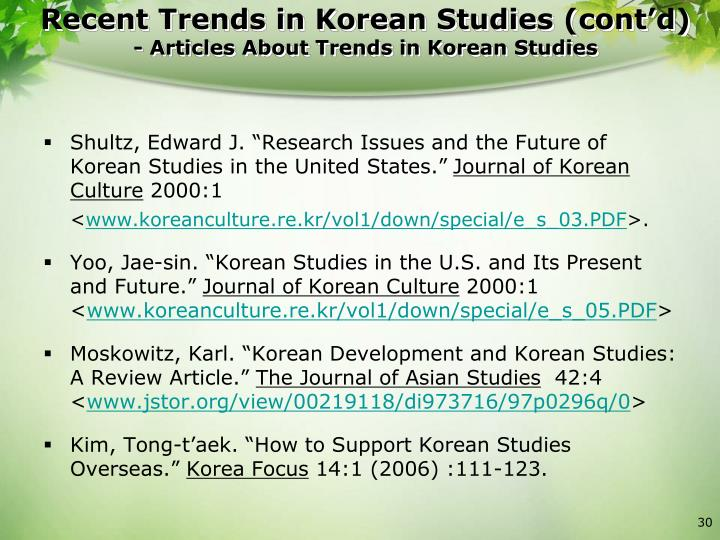 "Shultz, Edward J. ""Research Issues and the Future of Korean Studies in the United States."""