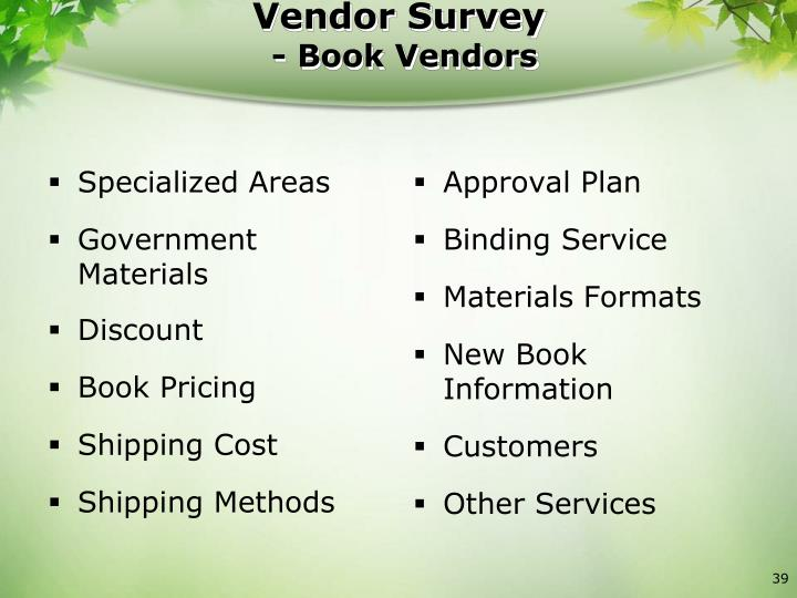 Vendor Survey