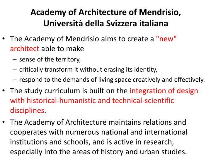 Academy of Architecture of Mendrisio, Università della Svizzera italiana